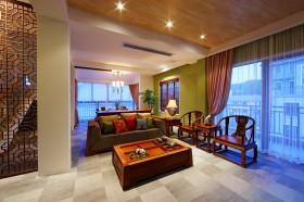 中式客厅实木沙发茶几效果图