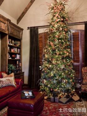 客厅沙发客厅圣诞树装饰图片大全
