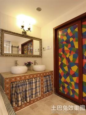 砖砌洗手台镜前灯效果图