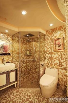 暖色调卫生间马赛克背景墙效果图