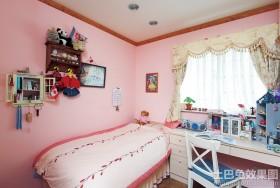 粉色温馨儿童房墙面漆效果图
