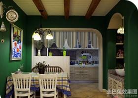 绿色餐厅与厨房隔断图片