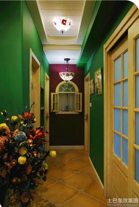 绿色田园风格田园风格走廊吊顶装修效果图