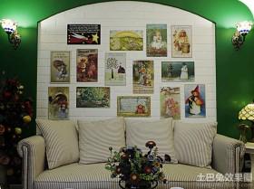 绿色田园沙发装饰画背景墙效果图