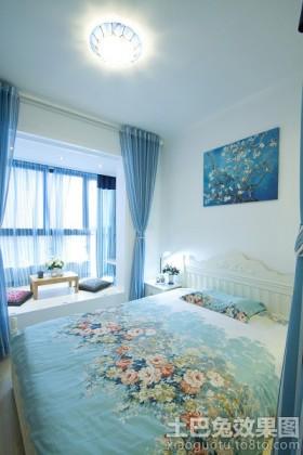 地中海风格卧室飘窗榻榻米效果图