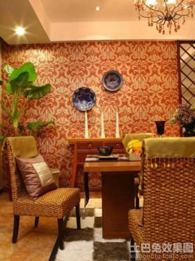 东南亚风格餐厅墙纸效果图