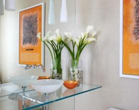 卫生间玻璃桌面洗手盆效果图
