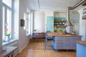 北欧风格开放式厨房木地板装修效果图