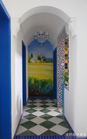 地中海风格过道地板砖效果图