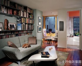 墙上吊柜书架效果图片
