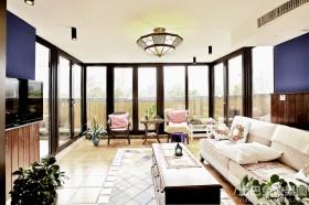 美式田园风格客厅落地窗效果图