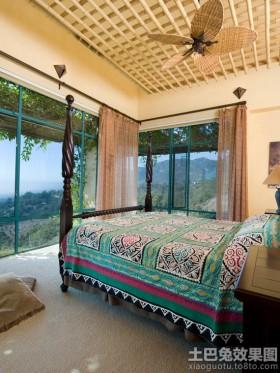 东南亚风格卧室格栅吊顶效果图