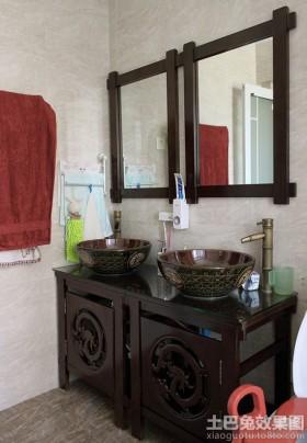 中式风格洗手间浴柜图片