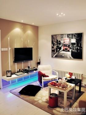 北欧小户型婚房客厅电视背景墙效果图