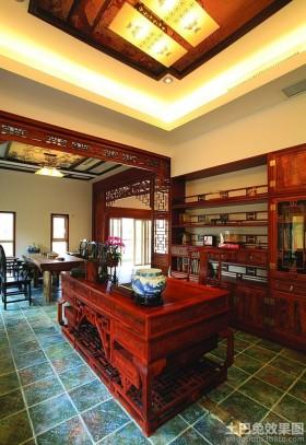 中式风格书房地板砖效果图图片