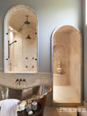 复古风格装修浴室效果图