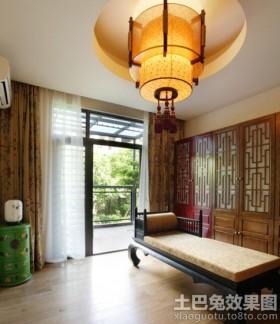 中式风格三居吊顶装修效果图