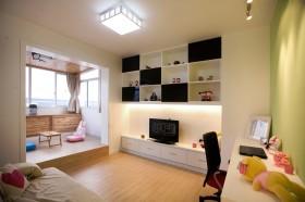 现代风格婚房客厅墙上置物架效果图