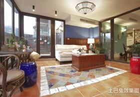 混搭风格客厅地板砖效果图