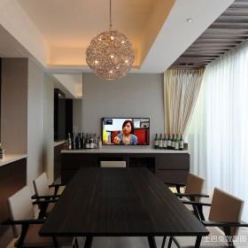 简约别墅餐厅电视墙效果图