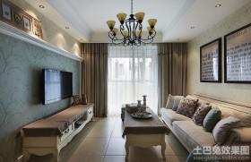 简欧70平米两室一厅装修客厅效果图大全