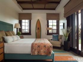 东南亚风格卧室竹帘效果图
