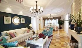 混搭风格两室一厅客餐厅一体装修吊顶效果图