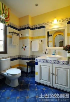 田园风格装修卫生间瓷砖效果图片