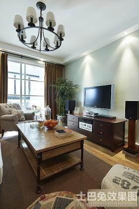 混搭美式两居室客厅电视柜装修效果图