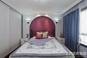 地中海风格卧室床头背景墙效果图