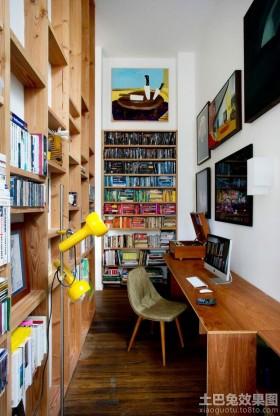 书房实木书桌书架效果图片欣赏