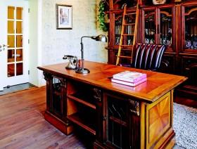 美式田园风格书房书桌效果图