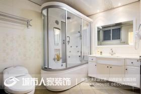 田园风格卫生间淋浴房浴池一体效果图