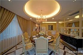 新古典主义风格餐厅圆形吊顶效果图片