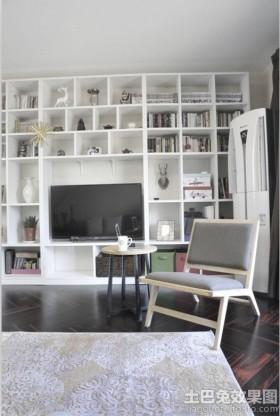 简约书柜电视墙装修效果图大全2013图片