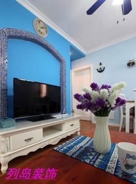 欧式地中海混搭风格客厅电视背景墙装修效果图