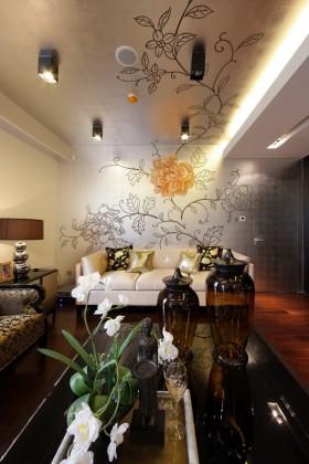 新古典风格三居室客厅创意吊顶效果图