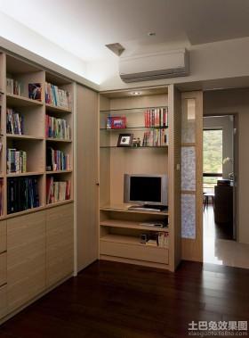 简约木制书房书柜效果图