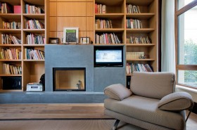 现代风格书房书架效果图