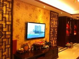 中式混搭风格客厅电视背景墙装修效果图