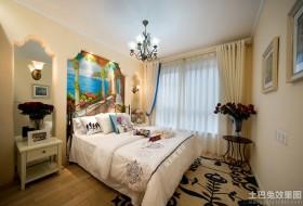 地中海风格两室两厅卧室手绘墙效果图