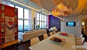 现代顶层公寓餐厅电视背景墙效果图