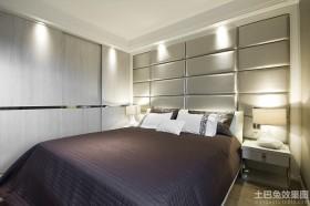 现代二居卧室软包背景墙效果图