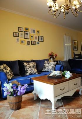 地中海风格客厅照片墙装饰效果图