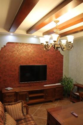 电视背景墙电视柜美式乡村风格客厅背景效果图图片