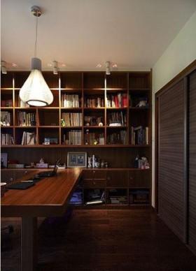现代中式风格书房多宝格实木书柜效果图
