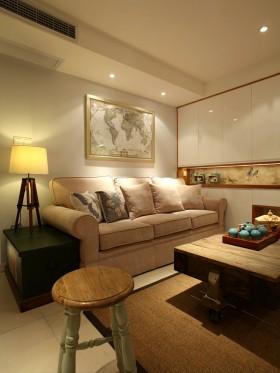 现代田园风格客厅沙发背景墙挂画效果图