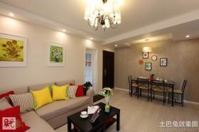 时尚现代70平米两室一厅装修效果图