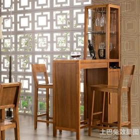 中式酒柜吧台效果图片
