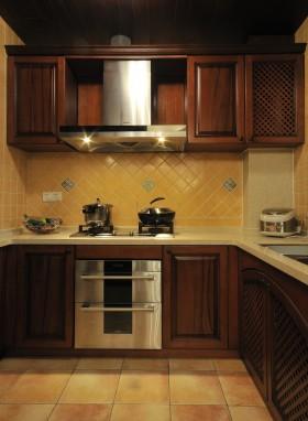 混搭风格橱柜美式新古典风格厨房实木橱柜装修效果图图片